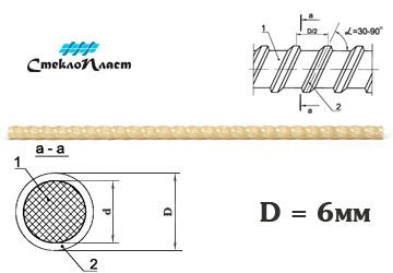 Стеклопластиковая арматура АКС-6 купить без посредников с доставкой от завода-изготовителя СтеклоПласт. Все регионы Росси. Экспорт в страны ближнего зарубежья.